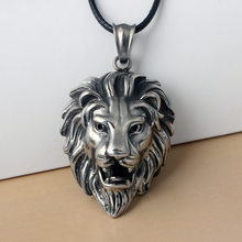 HOMOD Hip Hop Big Lion Head Pendant & Necklace Animal King Vintage Stell Color Hiphop Rope Chain For Men Women Jewelry Gift(China)