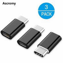 Ascromy 3PCS Type C Adapter For Xiaomi Mi A1 5X Mi5X Mia1 Oneplus 3t 5 3 LG g5 Samsung S8 Plus Micro USB to USB C Adapter Type-c(China)