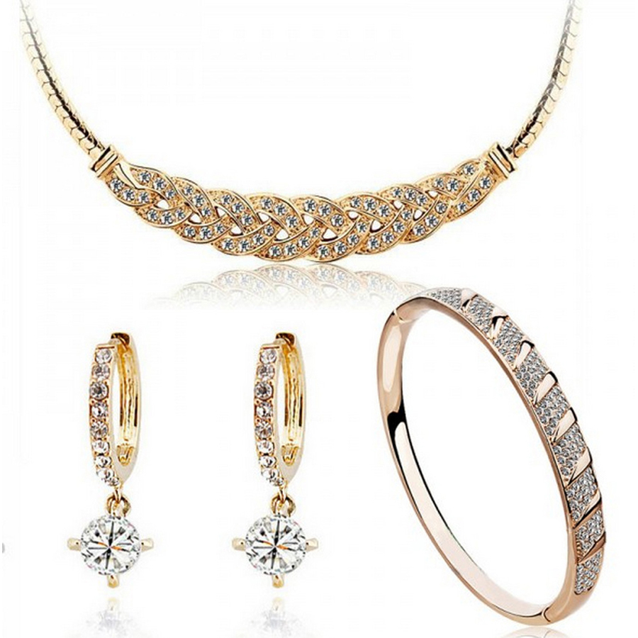 austrian crystal 24k gold-color The distorted Snake chain wedding jewelry sets for brides(China)