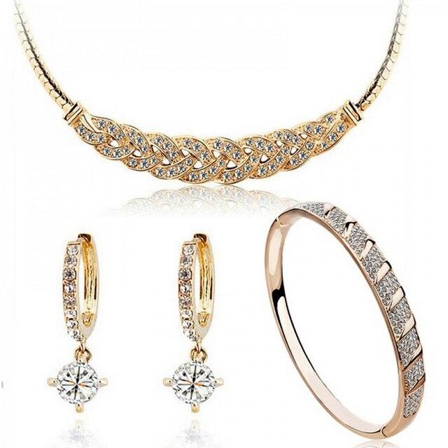 אוסטרי קריסטל 24 k זהב-צבע המעוות נחש שרשרת חתונה תכשיטים עבור כלות
