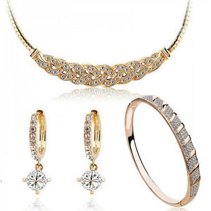 Snake-Chain Wedding-Jewelry-Sets Crystal Distorted Austrian Brides 24k-Gold-Color The
