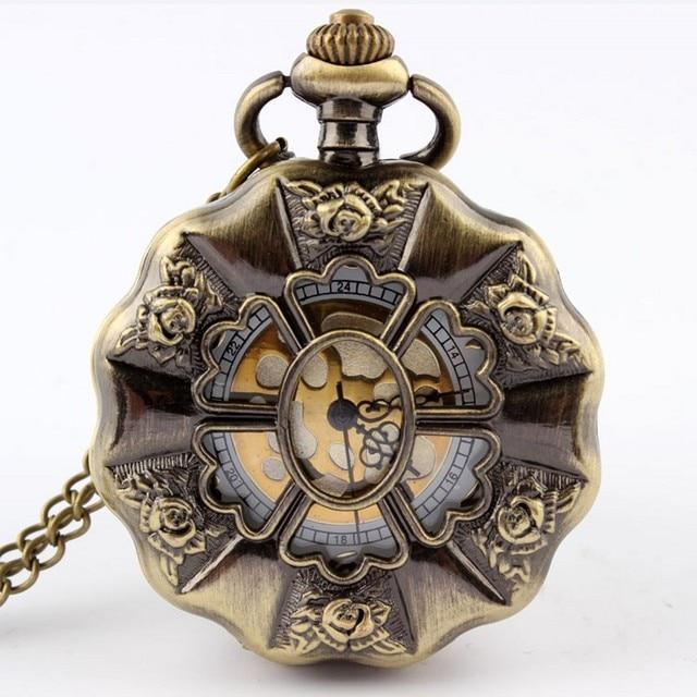 Fashion Pocket Watch Vintage Bronze Hollow Flower Women Lady Quartz Watches Neck