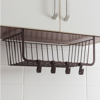 Hanging basket under the cabinet with hooks Kitchen dish racks cruet cabinet storage rack wx10241537
