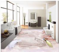 3d wallpaper pvc Peacock Wonderland 3D floor wallpaper for bathroom waterproof Home Decoration