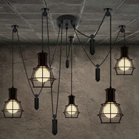 5 Heads Chandelier spider Loft Vintage industrial light Edison Lamps for Dining Room Creative Lighting Small Bulb Holders