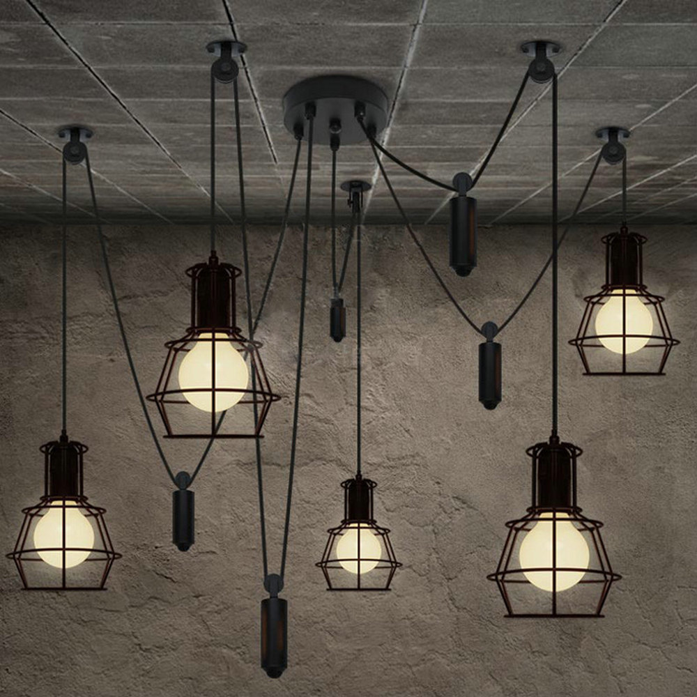 5 Heads Chandelier Spider Loft Vintage Industrial Light Edison Lamps For Dining Room Creative Lighting Small