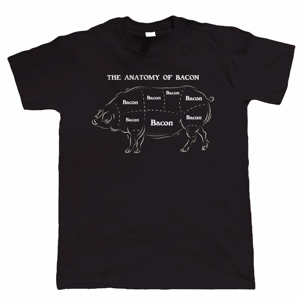 2018 Brand New Men Clothing Short Sleeve Tee Shirts Anatomy Of Bacon Pig Gift For Dad T Shirt Create Your Own T Shirt