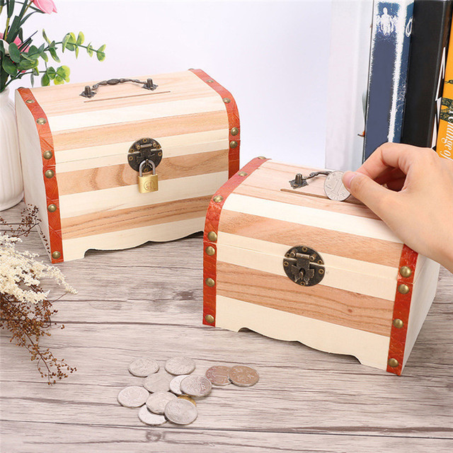Wooden Treasure Chest Coin Saving Pot Piggy Bank Large Sized Wooden Jewelry  Storage Box With Lock