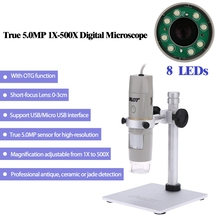 Promo offer 500x 5.0MP USB Microscope Video Camera OTG Function Digital Zoom Magnifier with Holder and 8LED for Detection and Cosmetology