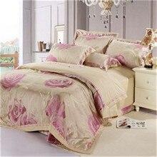 Розы цветы постельных принадлежностей 4 шт. сатин жаккард хлопок кровать одеяло одеяло покрывает. для король королева размер роскошные bedlinens