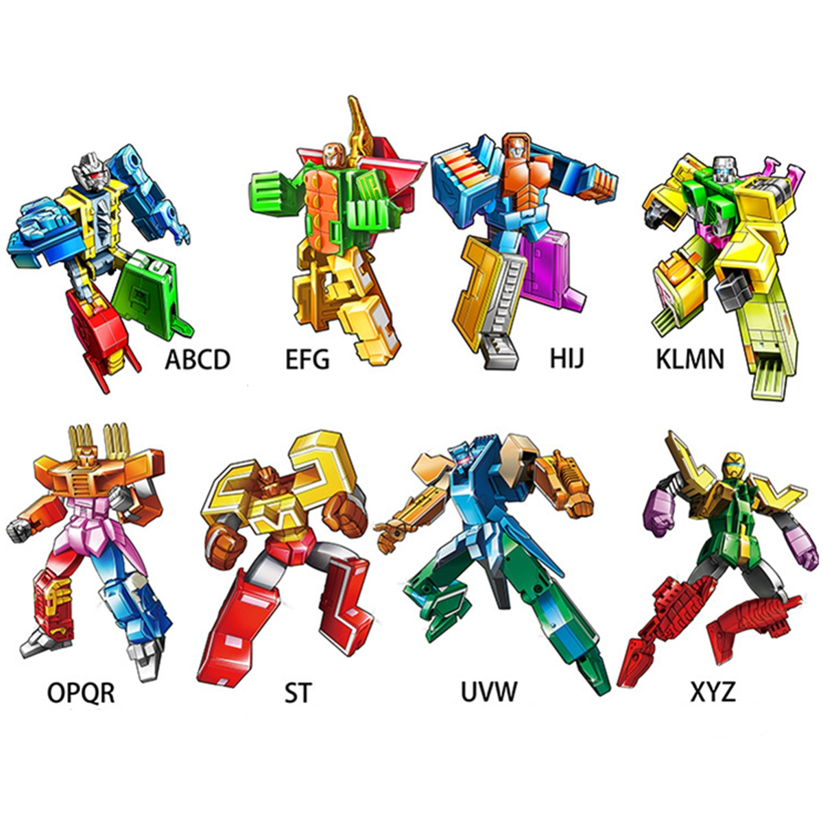 26 pièces lettre anglaise Robot déformation Alphabet Transformations Puzzle dinosaure Robot bricolage blocs de construction enfants jouets éducatifs - 2