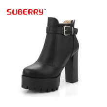 SUBERRY Faux Leather Platform Women's Ankle Boots Winter High Heel Boots Short Thick With Short Boot Women's Shoes Large Size 43