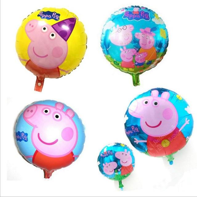 Peppa pig Diversão Ao Ar Livre Ostenta 18 polegada rodada balão de alumínio decoração de aniversário do balão do brinquedo das crianças Brinquedo para crianças