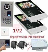 Video intercom 2 Monitors for doorphone Fingerprint Recognition/Password Unlock Outdoor Camera Video Door Phone IP65 Waterproof