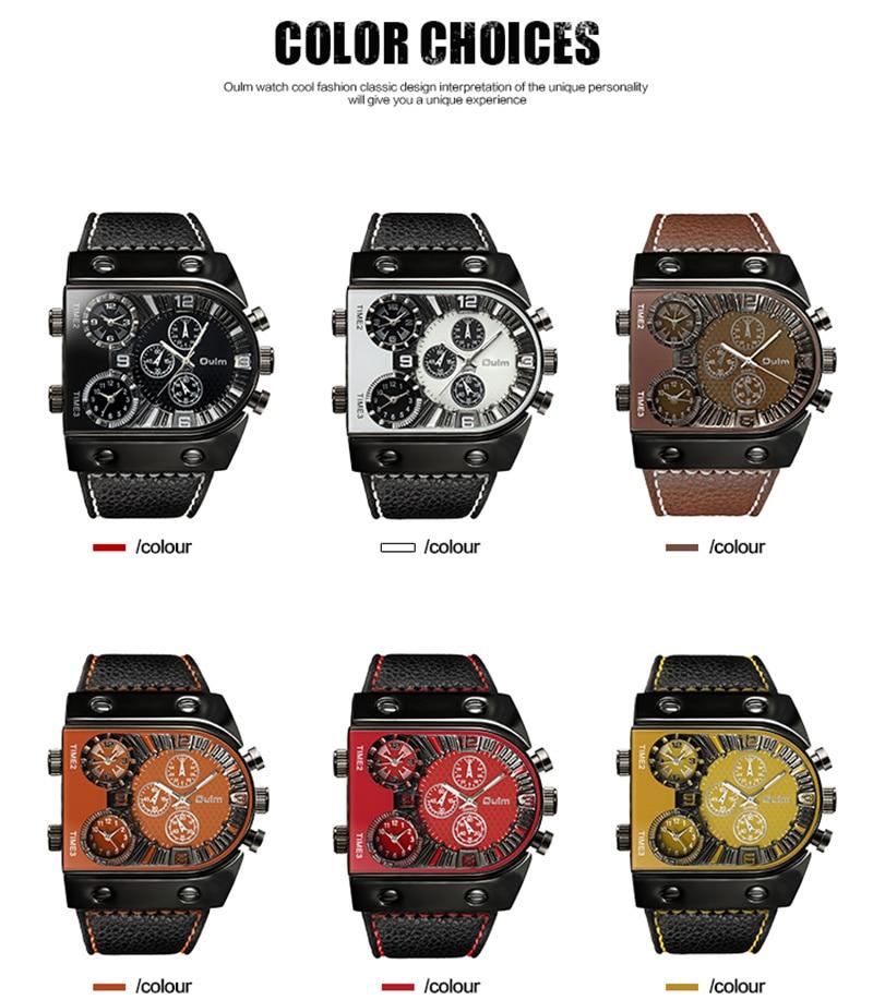 OULM Sport Watch Men Quartz Analog Clock 3 Time Zone Sub-dials Design Big case Oversize Fashion Black Wrist Watches relogio