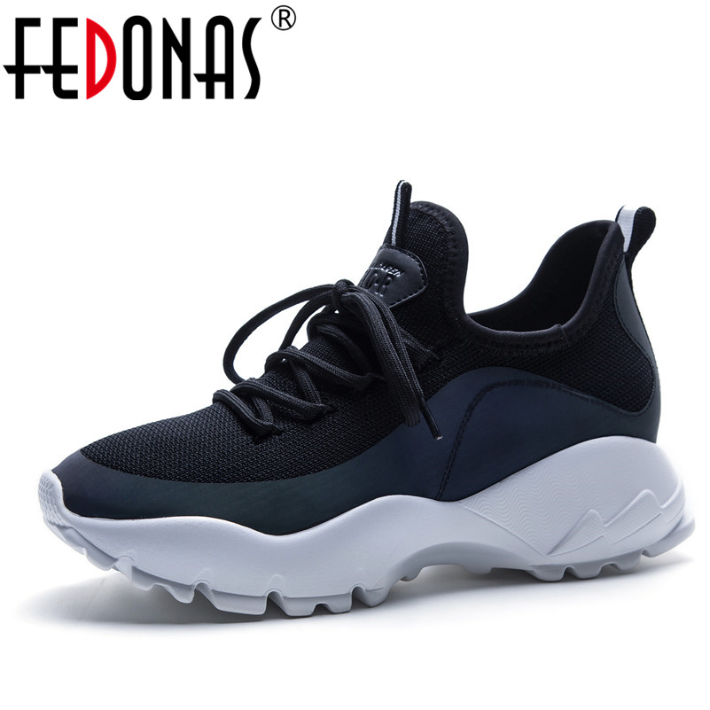 FEDONAS New Brand 2018 Fashion Women Platforms Casual Shoes Woman Comfortable Flats Ladies Sport Sneakers Female Breathable Shoe fashion women casual shoes breathable air mesh flats shoe comfortable casual basic shoes for women 2017 new arrival 1yd103