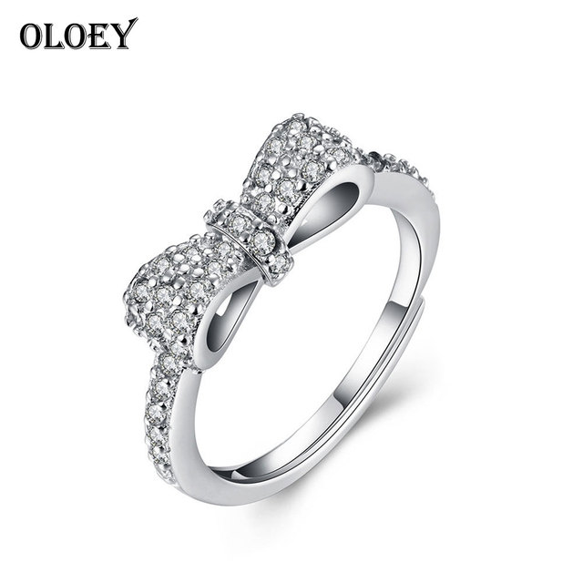 oloey finger rings 2018 genuine 100 925 sterling silver bow knot