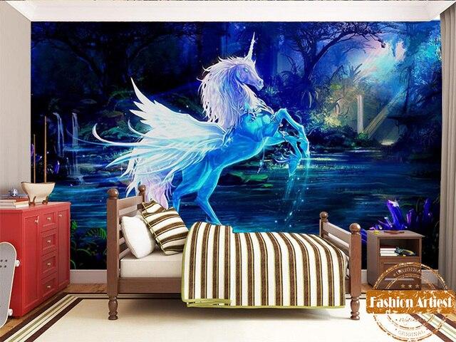 Slaapkamer Vintage Blue : Custom vintage lengend sprookje kids behang mural fantasy eenhoorn