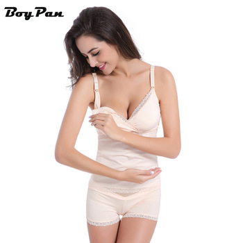 2017 New Cotton Breastfeeding Suit Maternity Wire Free Before (2 Piece )Open Buckle Vest for Pregnant Women Pregnancy Underwear
