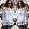S 5XL Large Size Fashion Women Lace Long Sleeve Chiffon Blouses Shirt Crochet Blusa Tops Blusas