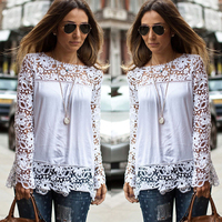 S 5XL Large Size Fashion Women Lace Long Sleeve Chiffon Blouses Shirt Crochet Blusa Tops Blusas