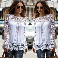 S-5XL Large Size Fashion Women Lace Long Sleeve Chiffon Blouses Shirt Crochet Blusa Tops Blusas Femininas Camisa Plus Size