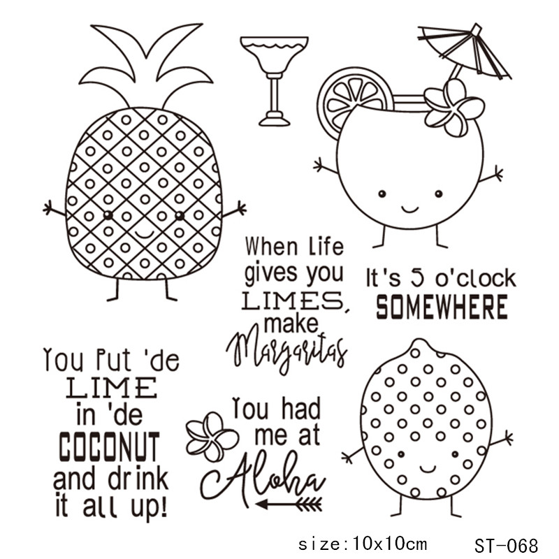 AZSG Pineapple Fruit Juice Clear Stamps For DIY Scrapbooking Rubber Stamp Seal Paper Craft Clear Stamp Card Making in Stamps from Home Garden