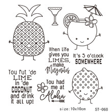 AZSG Pineapple Fruit Juice Clear Stamps For DIY Scrapbooking Rubber Stamp/ Seal Paper Craft Clear Stamp Card Making стоимость