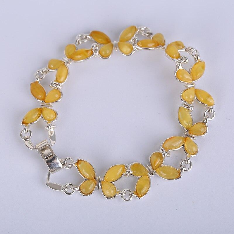 Мода 925 Серебряный инкрустированный янтарный браслет, ручной орнамент, женский браслет, ювелирный браслет, натуральный Прибалтики янтарь.