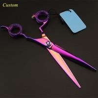 Custom professional Japan 440c 7 inch purple pet dog grooming hair scissors dog shears pet cutting berber hairdressing scissors