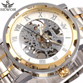 2017 SEWOR Top Luxury Brand Transparent Skeleton Watch Men Stainless Steel Mens Watches Casual Mechanical Watch Gold Relogio