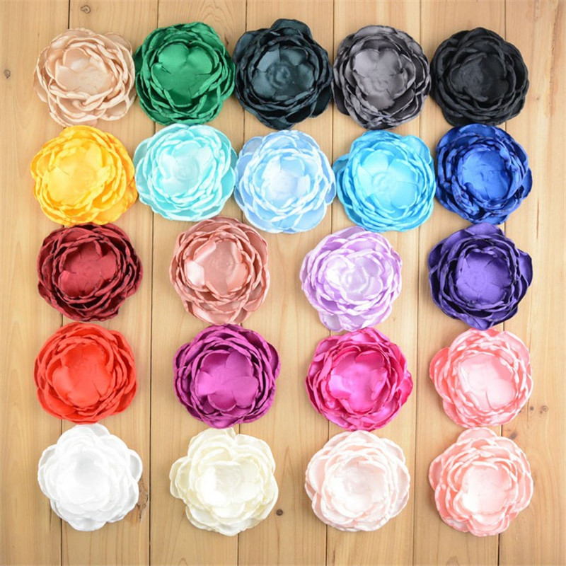 50pcs lot 4 Handmade Large 7 Layers Burned Satin Flowers DIY Bridal Bouquet girls Hair Accessories