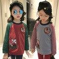 Nueva Primavera 2017 Niños niñas de Manga Larga T-shirt de Algodón Modelo Cómodo Tops