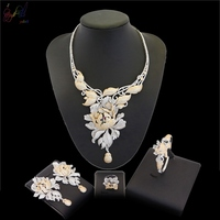 YULAILI 2018 New Arrival Big Flower Cubic Zirconia Gold Color Brass AD Jewelry Set for Bridal Costume