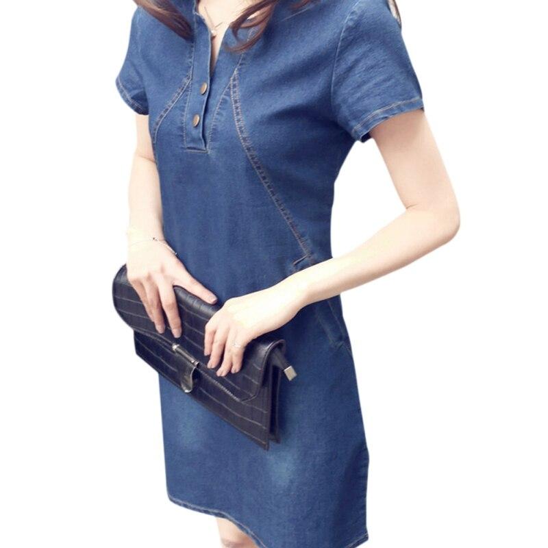 Fashion Solid O-neck Short Sleeve Denim Dress Women Party Dresses Office Denim Jeans Button Dress Robe Plus Size Vestidos