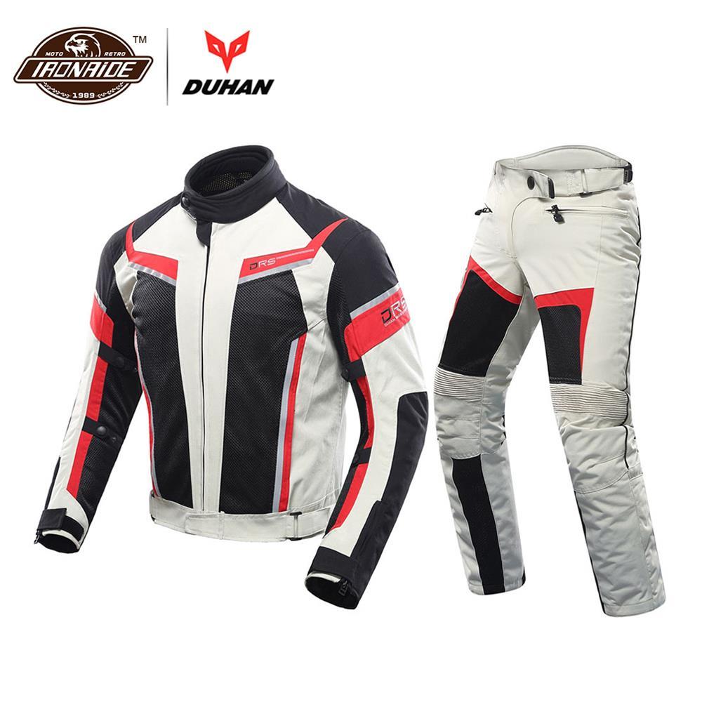 DUHAN hommes Moto veste + Moto pantalon ensemble printemps été respirant maille veste Moto pantalon costume vêtements de protection