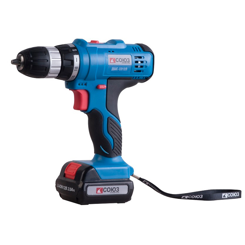 Cordless drill/screwdriver SOYUZ DSHS-3312L 12v cordless electric drill screwdriver power tools with lithium battery and two speed adjustment for handling screw punching
