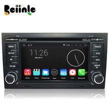 Beiinle Car 2 Din Android 4.4.4 QUAD CORE 1024*600 16G DVD GPS Radio Stereo Navigator Player for Audi A4 S4 RS4  2002- 2008