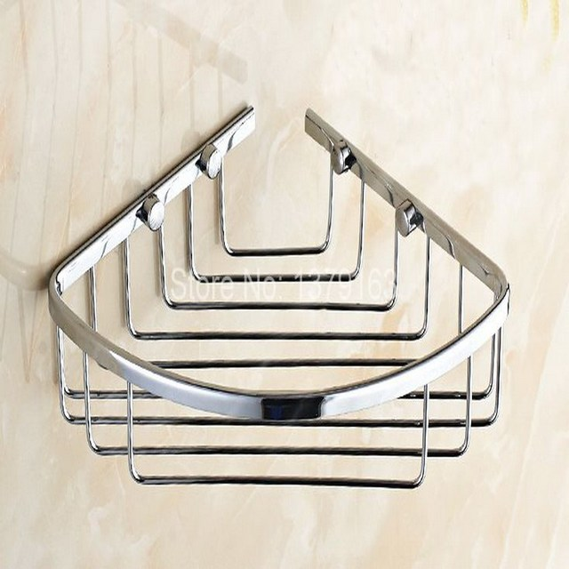 Polished Chrome Br Bathroom Accessory Corner Bath Shower Soap Tray Caddy Basket Wire Storage Rack Wall
