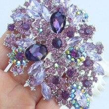 Роскошные аксессуары для волос фиолетовые стразы, кристалл цветок гребень для волос в виде листьев тиара FSE03905C2