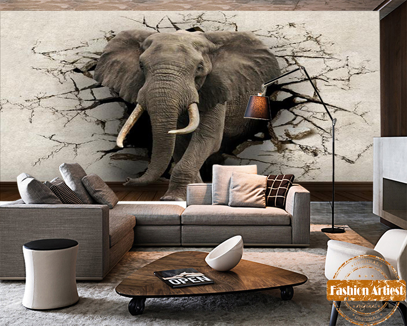 Popular elephant murals buy cheap elephant murals lots for 3d wallpaper for living room india