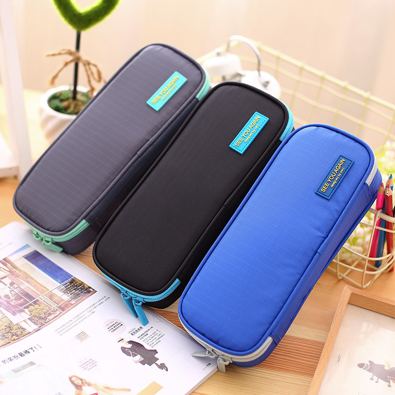 Large Capacity Solid Color School Pencil Case Pen Holder Bag Box Students Stationery Birthday Xmas Gifts Papelaria For Boys high quality canvas large capacity solid color school multifunctional boys pencil case pen holder bag stationery penalty 04921