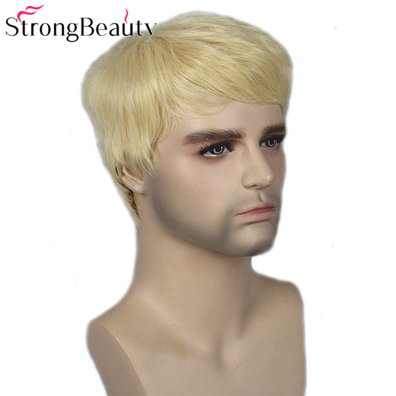 Image 2 - Strong Beauty Gold Blonde Men Wigs Synthetic Wig Short Hair Body Wave Wigs    -