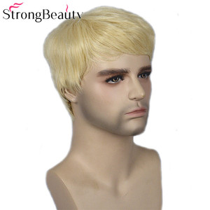 Image 2 - Strong Beauty Gold Blonde Men Wigs Synthetic Wig Short Hair Body Wave Wigs