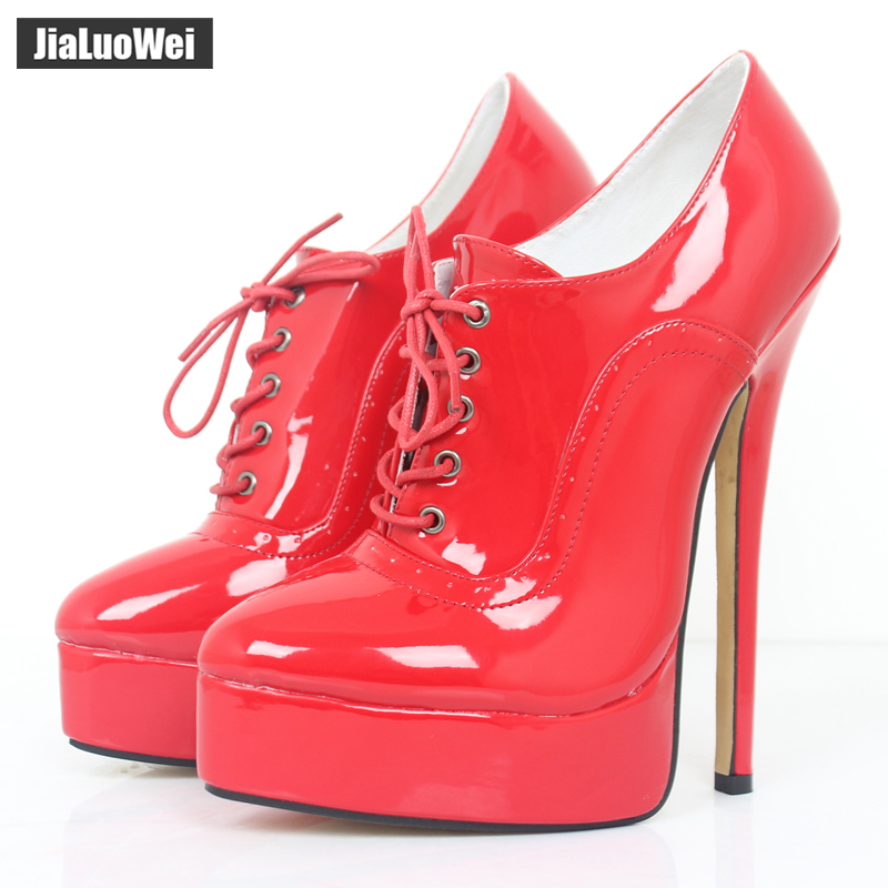 jialuowei 18cm High Heel Sexy Fetish Thin Heel Women Pumps High Top Platform Stiletto Pointed Toe Lace-Up Ladies Shoes Plus size jialuowei women sexy fashion shoes lace up knee high thin high heel platform thigh high boots pointed stiletto zip leather boots