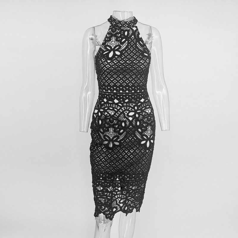 Joyfunear, кружевное женское платье миди с открытой спиной, летняя Клубная одежда, черные сексуальные платья, вязаные цветочные винтажные вечерние элегантное платье