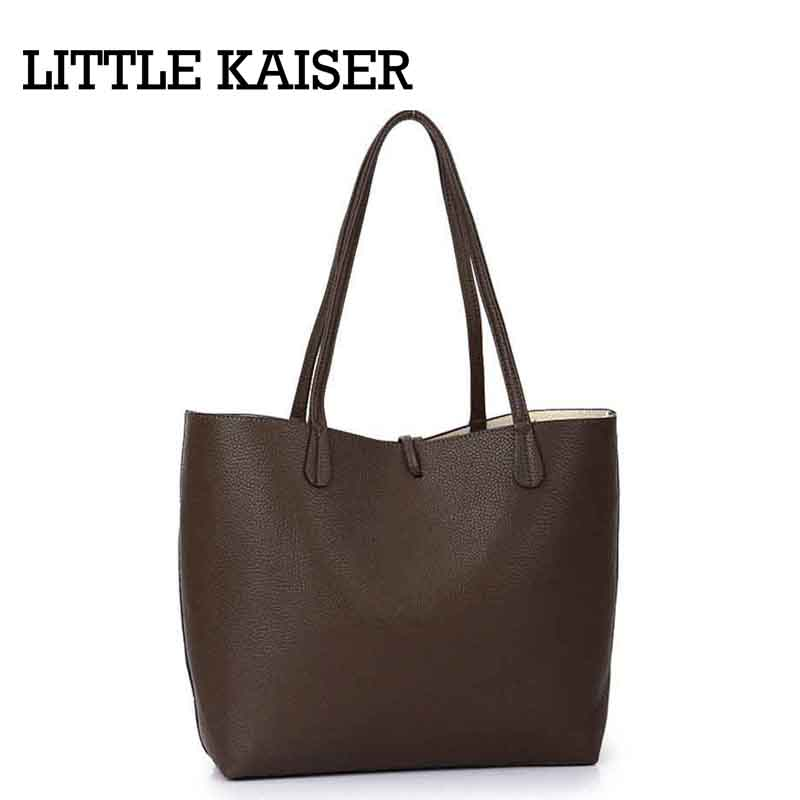Women Composite Bags 2016 Fashion New Design Trend Leather Solid Color Litchi Grain High Quality Large