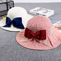 Women Summer Flap Cover Cap Bow Tie Cotton UV Protection Sun Shade Hat with Neck Cord Outdoor big Brim Casual Sun Hats Foldable
