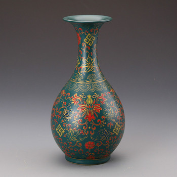 Classic Antique Chinese Porcelain Green Glaze Enamel Jingdezhen Flower Vase For Collections