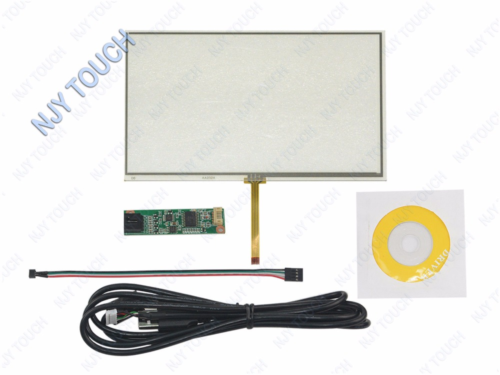 7 Inch Universal LCD Touch Screen Panel Glass GPS Digitizer AA232A 164.3x99.5mm plus USB Controller kit